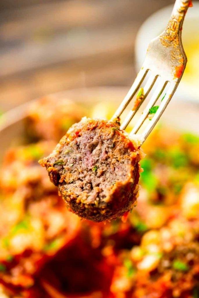 Meatball on fork