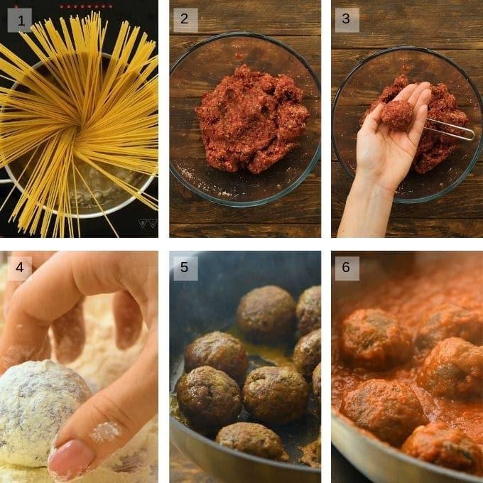spaghetti and meatballs collage