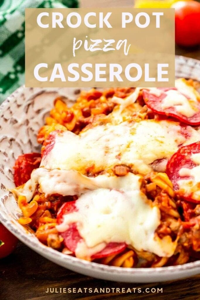 Crock pot pizza casserole in a white bowl