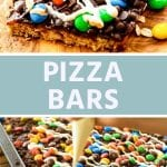 Pizza bars collage. Top image of a bar topped with m&m's and white chocolate, bottom image of a pan of bars being drizzled with white chocolate