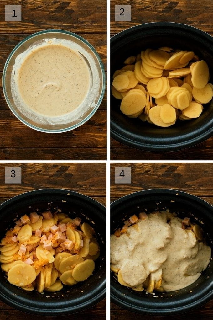 Collage of four photos showing how to make scalloped potatoes