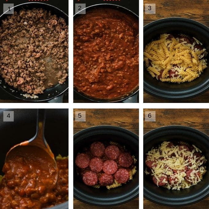 Collage of step by step photos to make crockpot pizza pasta