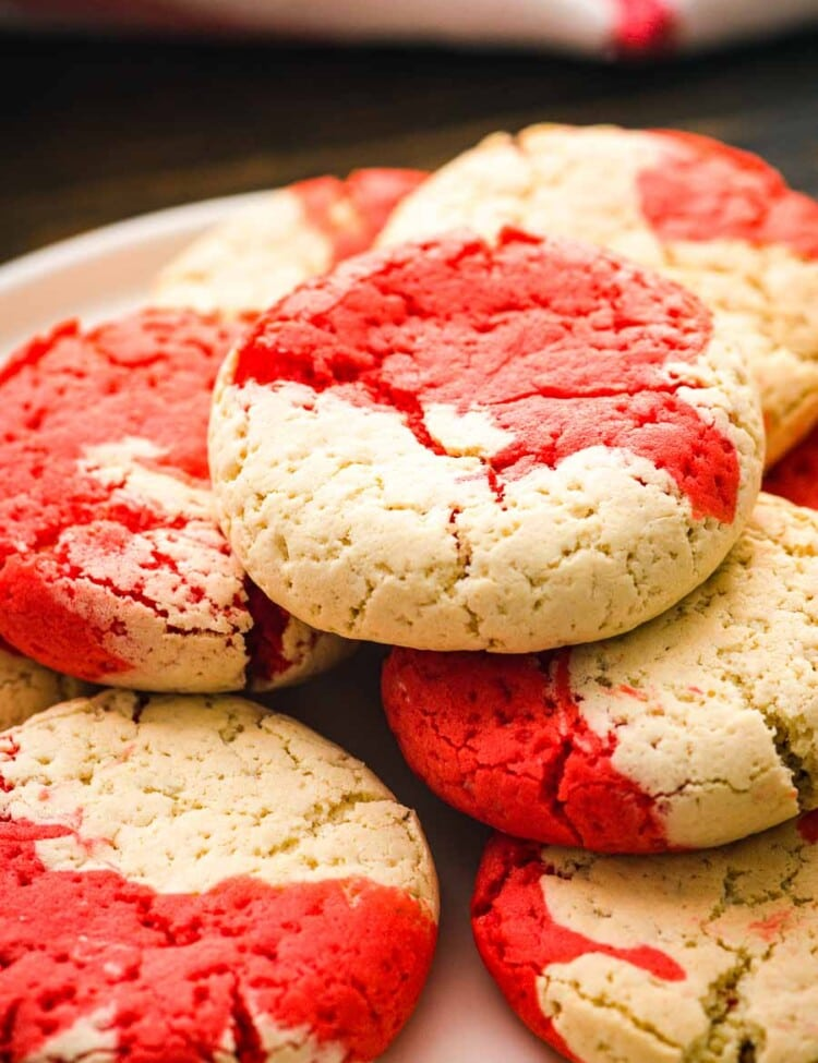 Christmas cake mix cookies stacked on a plate