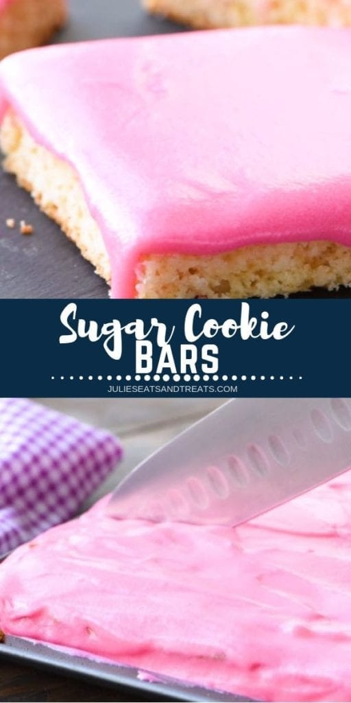 Collage with top image sugar cookie bar with pink frosting, middle navy banner with white text reading sugar cookie bars, and bottom image of sugar cookie bars being cut with a knife