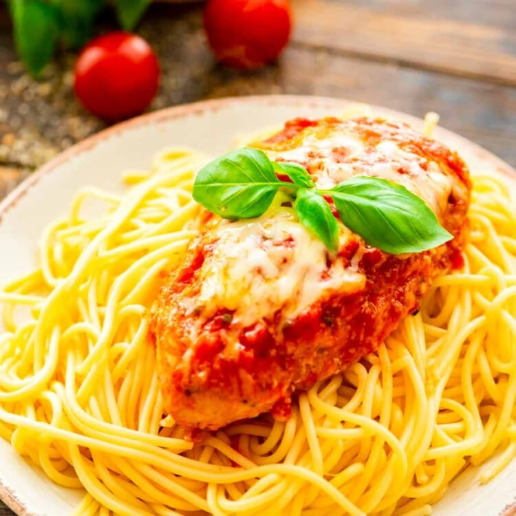White Plate with Crock Pot Chicken Parmesan