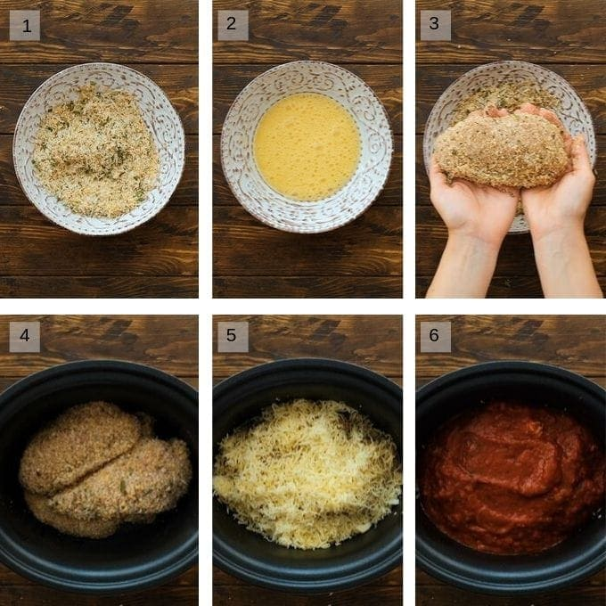 Photo collage of steps to make chicken parmesan
