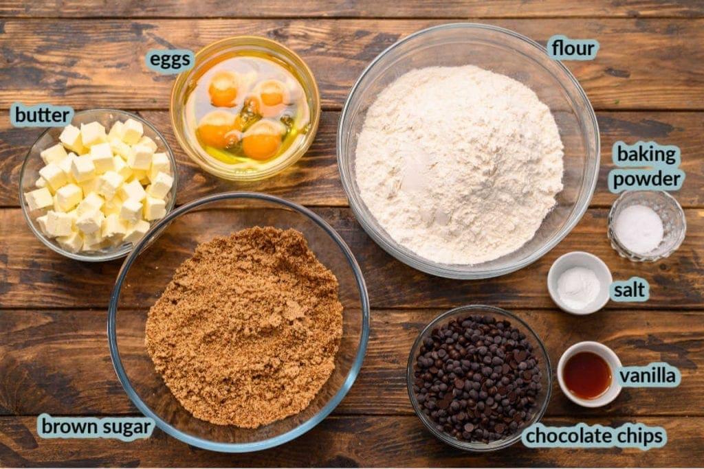 Overhead image showing ingredients to make blondies