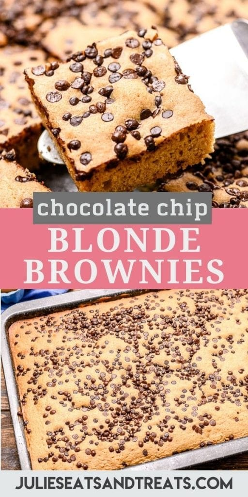 Pinterest Collage of blonde brownies. Top image of a blondie being lifted out of the pan on a metal spatula, bottom image of uncut blonde brownies in a baking pan.