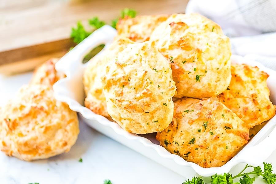 Cheddar Biscuits in white dish