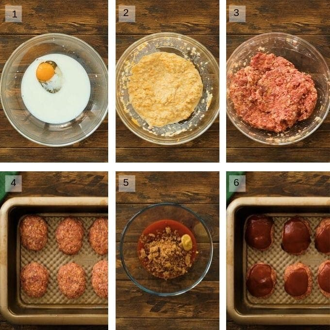 Photo Collage of steps of making mini meatloaf
