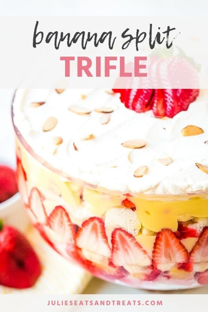 Banana split trifle in a glass bowl