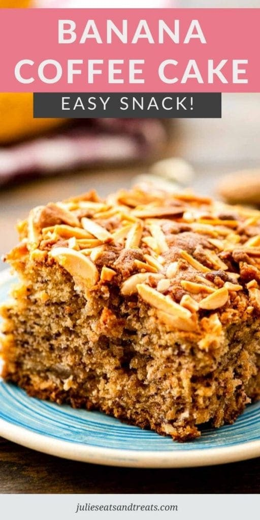 Banana coffee cake topped with nuts on a blue plate