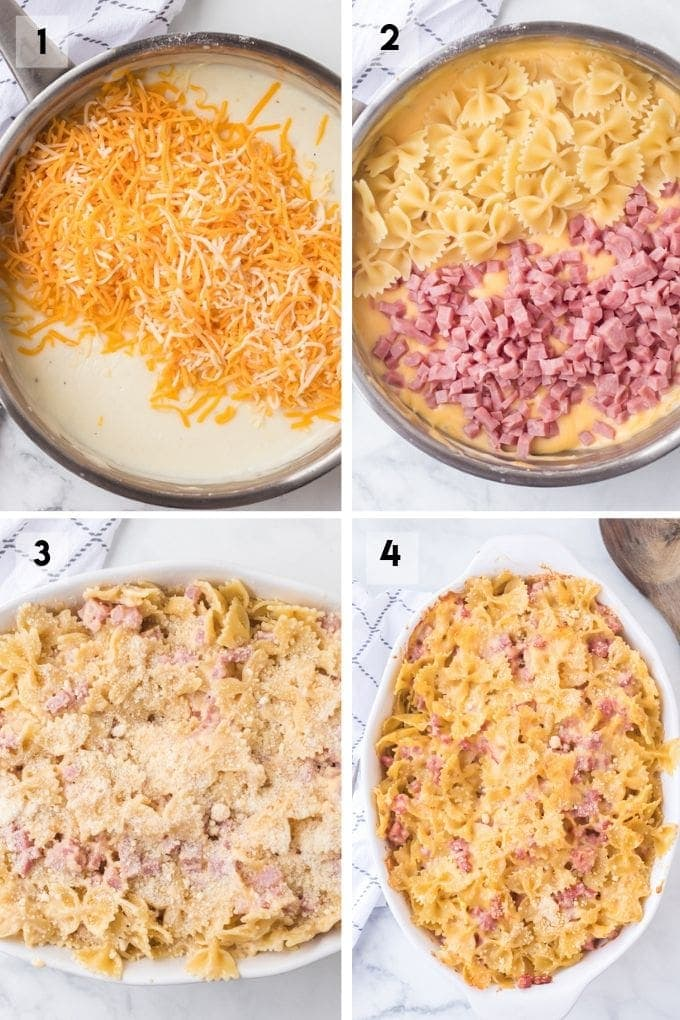 Cheesy Ham Bow Tie Pasta Collage