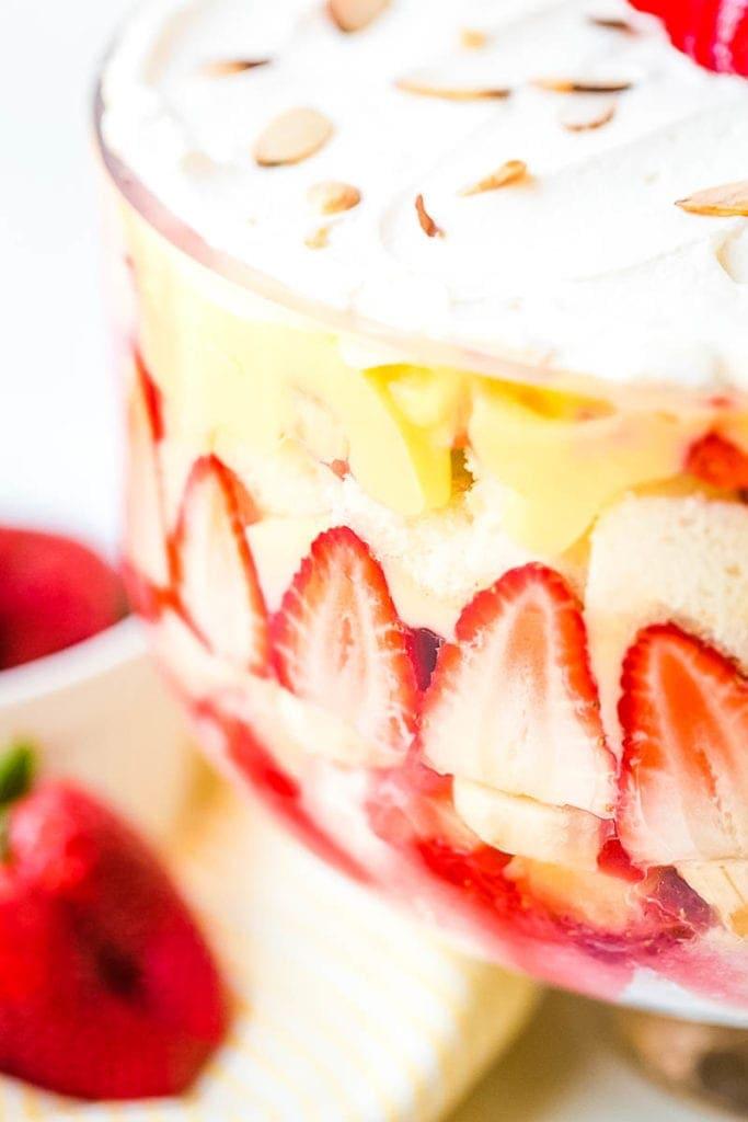 Bowl with banana split trifle