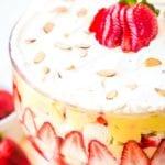 Banana split english trifle in glass bowl