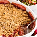 Strawberry Rhubarb Crisp ~ Crunchy Streusel Crust Layered with Strawberries and Rhubarb then topped with more Struesel!