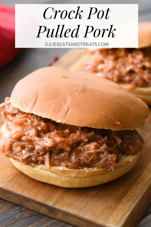 Crock Pot Pulled Pork sandwich on a cutting board