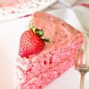 Easy Fresh Strawberry Cake ~ Starts with a Boxed Mix and is Dressed Up Fresh Strawberries and Iced with a Fresh Strawberry Frosting!