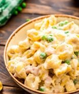 Ham and cheese tortellini in bowl