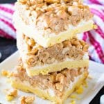 Tall stack of salted nut roll bar recipe prepared