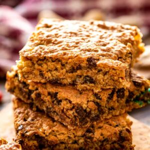 Stack of three monster cookie bars