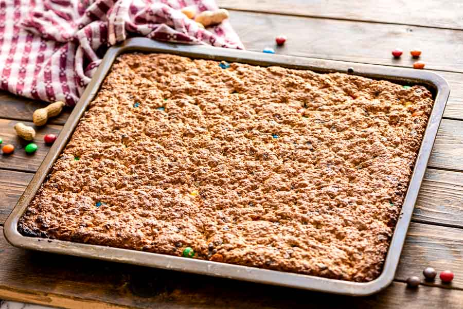Sheet pan of baked monster bars