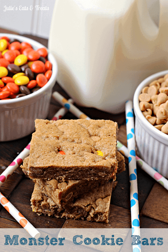 Monster Cookie Bars ~ Soft, chewy bars way easy than making cookies! via www.julieseatsandtreats.com