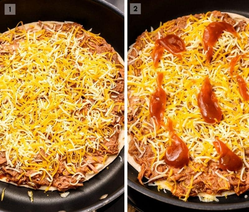 Two Image Collage showing pulled pork cheese and bbq sauce on tortilla in skillet