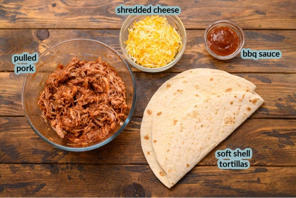 Pic of pulled pork cheese bbq sauce and tortillas