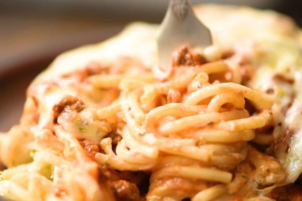 Spaghetti Casserole on fork