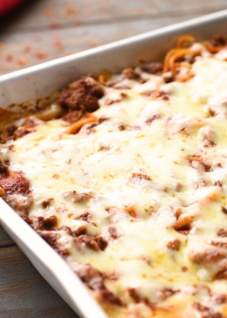 Baked Spaghetti Casserole in pan