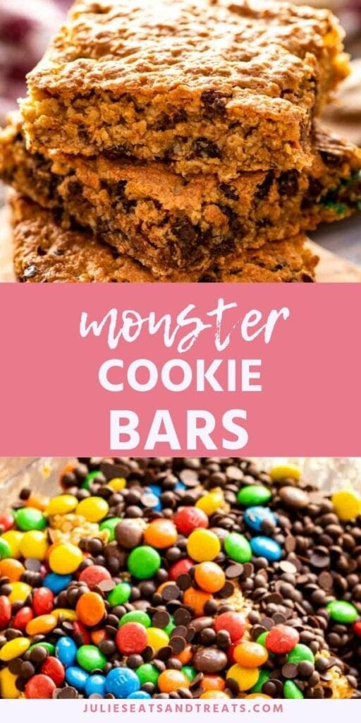 Monster cookie bars pinterest collage. Top image of three monster cookie bars stacked on top of each other, bottom image of m&m's and chocolate chips in a glass bowl