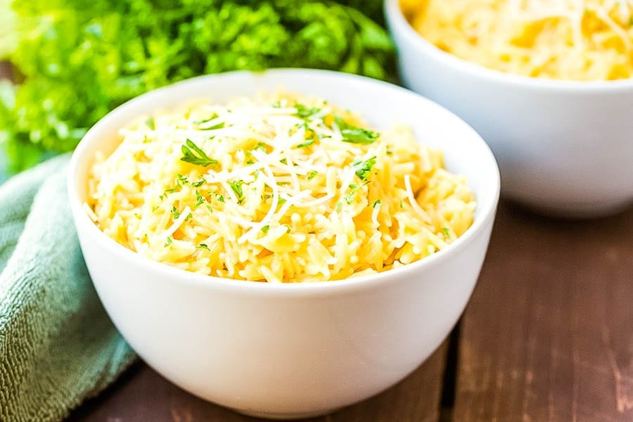 Easy Orzo side dish in bowl