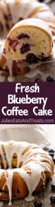 Fresh Blueberry Coffee Cake Recipe ~ Delicious, Moist Blueberry Coffee Cake Loaded with Fresh Blueberries Bursting with Flavor then Drizzled in an Almond Icing!