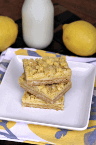 Lemon Crumb Bars ~ yummy lemon bars that are sweet and salty! via www.julieseatsandtreats.com