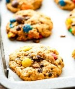 Sheet pan with monster cookies