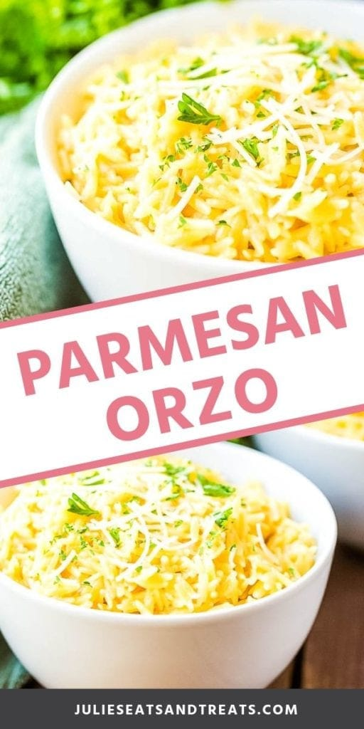 Collage with top image of parmesan orzo in a white bowl topped with shredded parmesan and parsley, middle banner with pink text reading parmesan orzo, and bottom image of parmesan orzo in a white bowl on a wood table