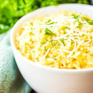 White bowl of Parmesan Orzo