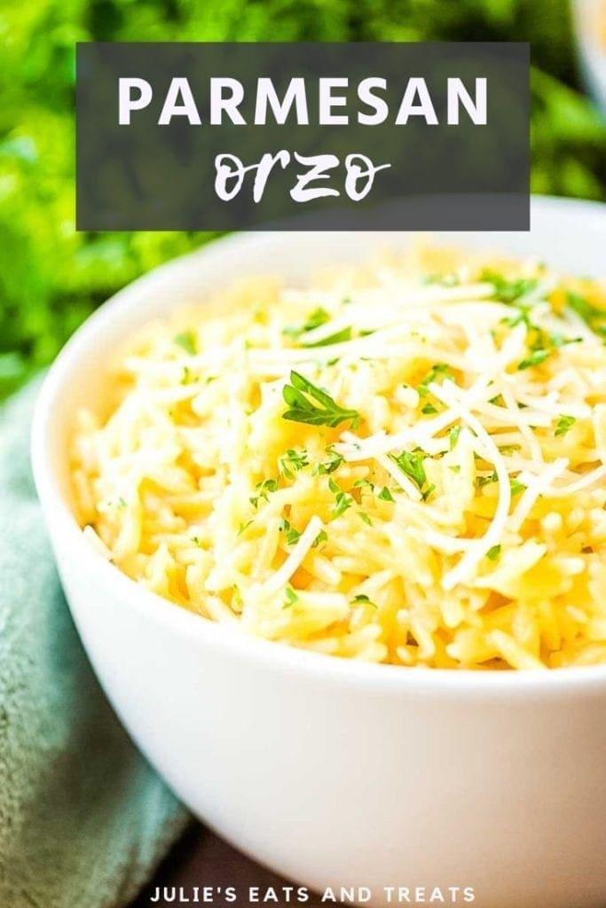 Parmesan Orzo in a white bowl