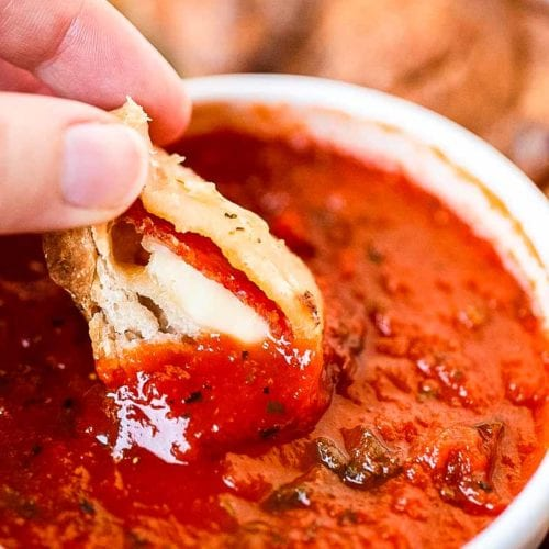 Pizza Monkey Bread Pepperoni dipped in pizza sauce