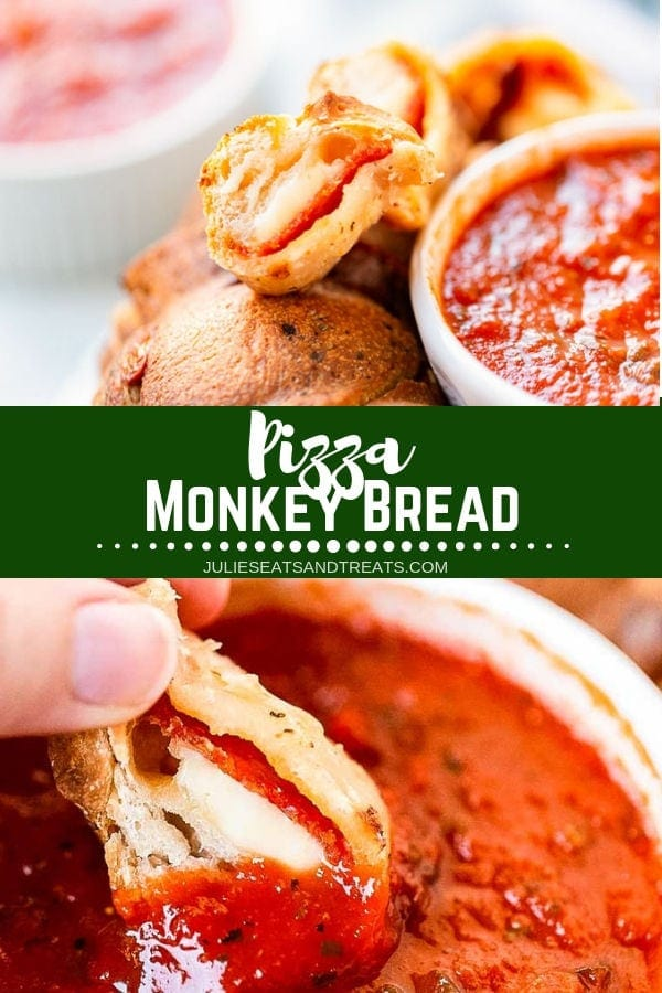 Collage with top image pizza monkey bread next to a bowl of marinara sauce, middle green banner with white text reading pizza monkey bread, and bottom image of monkey bread being dipped into marinara sauce