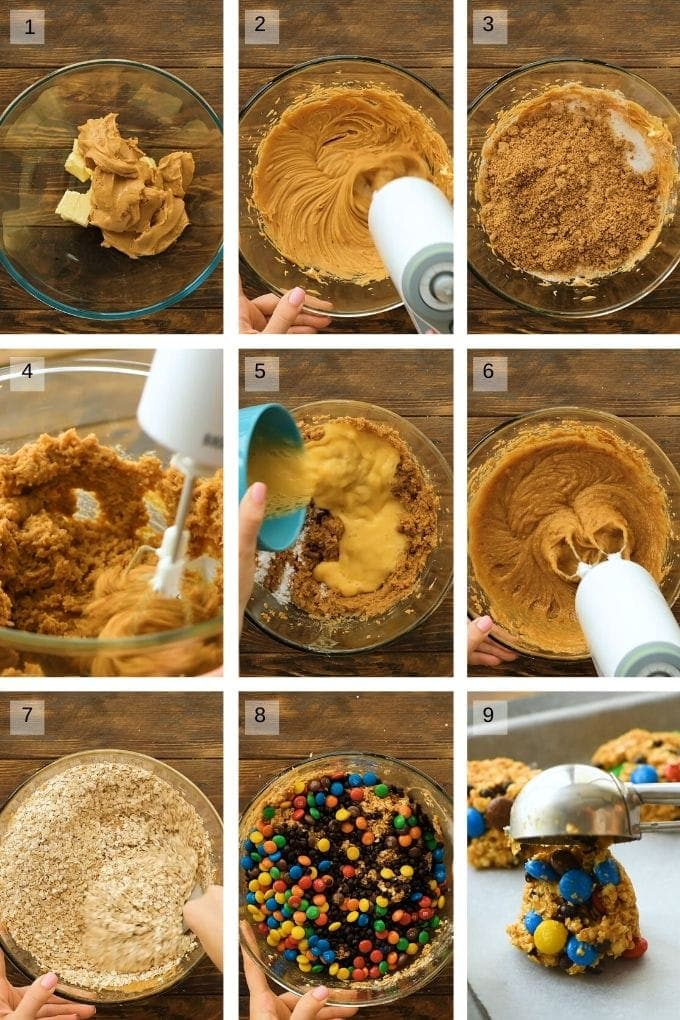 Photo collage on how to make monster cookies