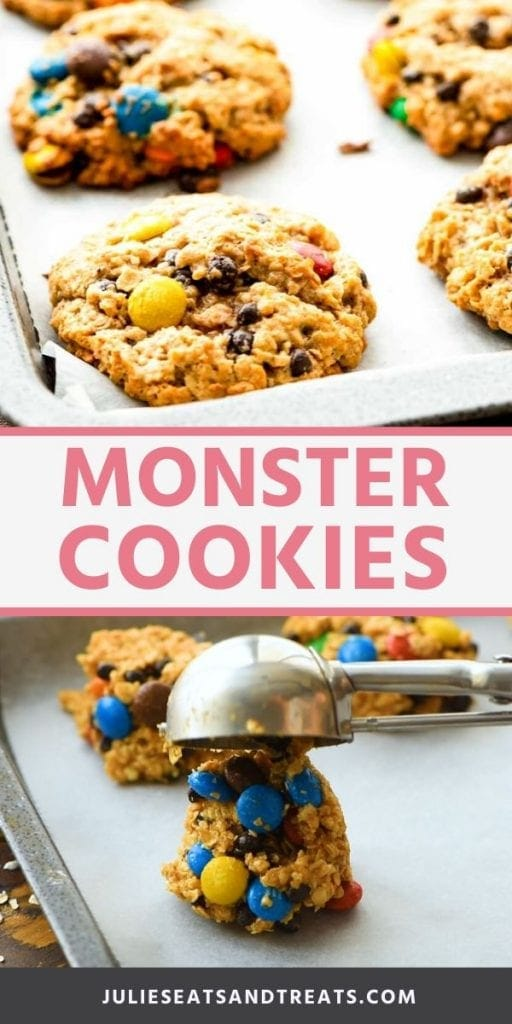Monster cookies collage. Top image of baked monster cookies on a baking sheet with wax paper, bottom image of cookie dough being scooped onto a baking sheet