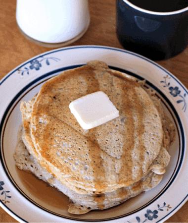 Zucchini Bread Pancakes ~ The yummy taste of Zucchini Bread in your pancakes! via www.julieseatsandtreats.com #recipe #breakfast