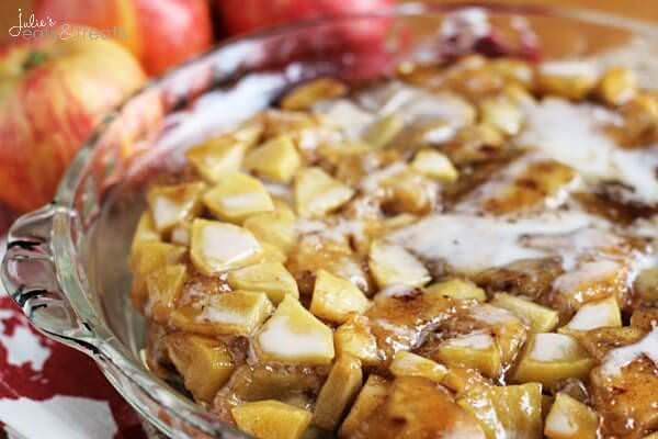 Upside Down Caramel Apple Rolls ~ Quick, Delicious Rolls Oozing with Caramel, Apples and Frosting!