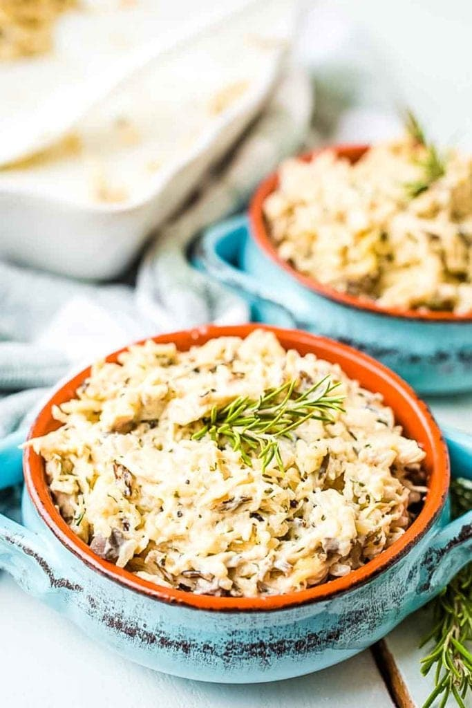 Chicken and Wild Rice Casserole recipe in blue dishes