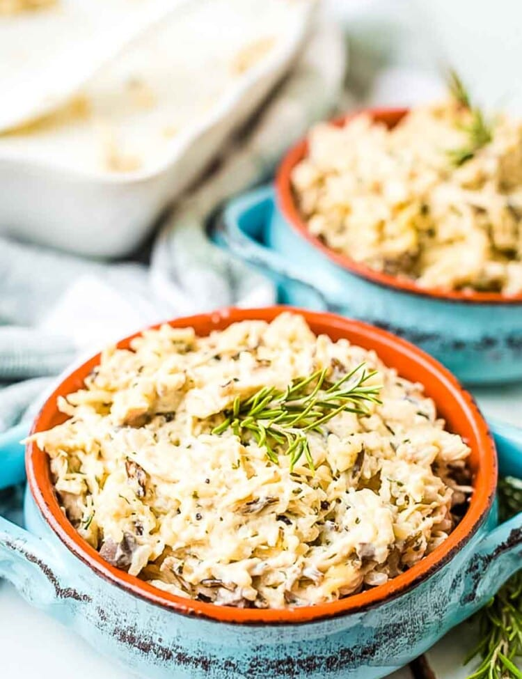 Chicken and Wild Rice Casserole in blue dishes