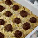 Meatball Hash Brown Bake ~ Cheesy Hash Browns layered with Homemade Meatballs!