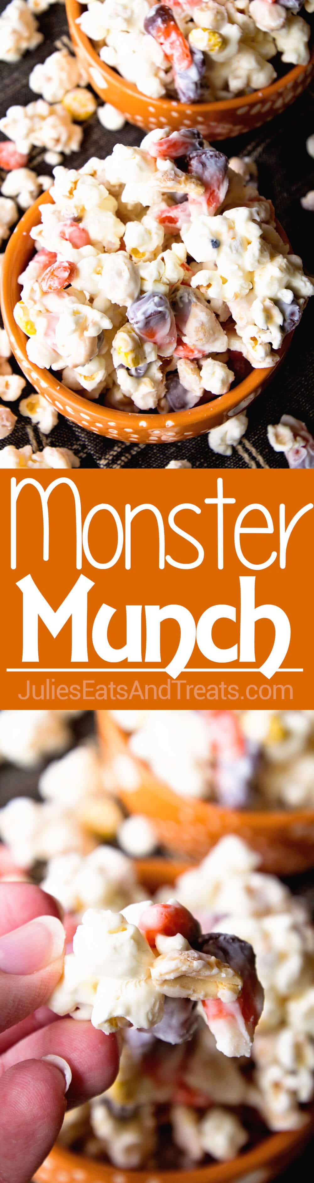 Monster Munch Halloween Snack Mix ~ Sweet & Salty Snack Mix Loaded with Popcorn, Candy Corn, Peanuts & Reese's Pieces!