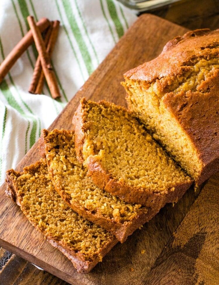 Loaf of pumpkin bread recipe sliced